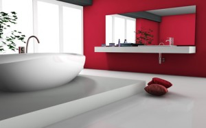 House interior of a modern red bathroom with bathtub and contemporary design 3d rendering.